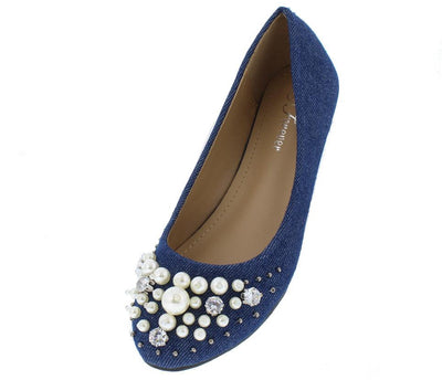 Mika33 Blue Denim Pearl Rhinestone Studded Round Toe Flat - Wholesale Fashion Shoes