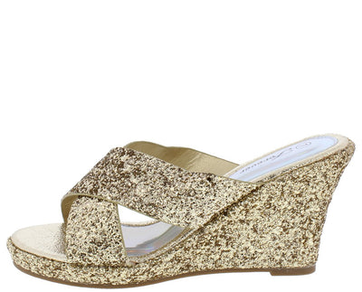 Mikki12 Gold Glitter Open Toe Cross Strap Wedge - Wholesale Fashion Shoes
