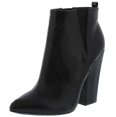 Mila Black Snake Pointed Toe Chunky Heel Ankle Boot - Wholesale Fashion Shoes