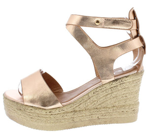 7279d78ad Milada02 Rose Gold Open Toe Cut Out Braided Hemp Wedge - Wholesale Fashion  Shoes