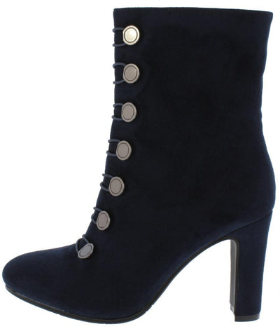 Milada23 Navy Toggle Button Mid Calf Boot - Wholesale Fashion Shoes