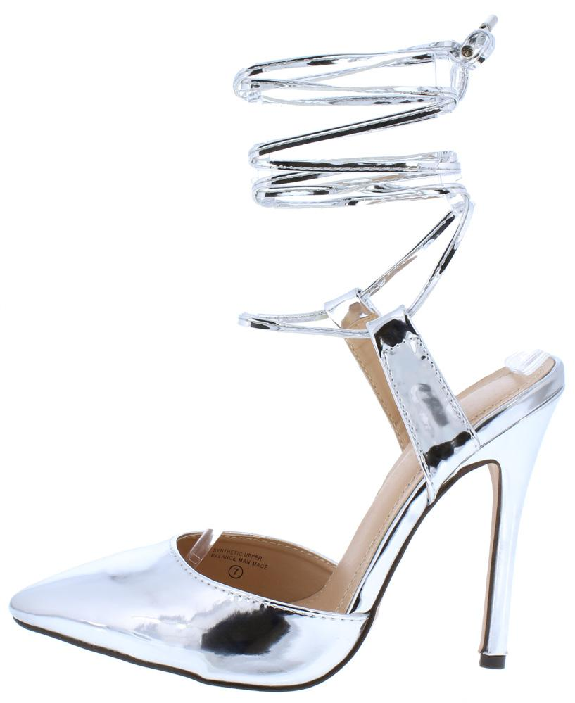 26ae7a90b3b1 Miley176 Silver Mirror Pointed Toe Ankle Wrap Stiletto Heel - Wholesale  Fashion Shoes