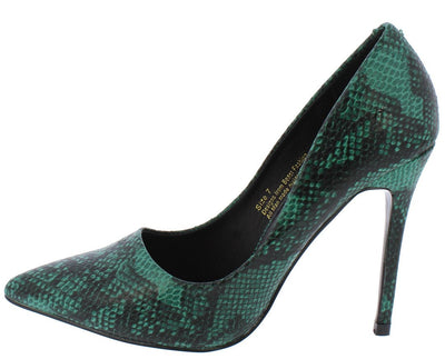 Miley01 Green Snake Pointed Toe Stiletto Heel - Wholesale Fashion Shoes