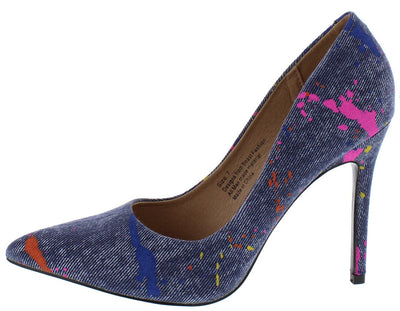 Miley02 Blue Denim Pointed Toe Splatter Print Heel - Wholesale Fashion Shoes