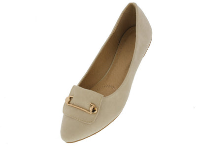 Milki3 Beige Gold Accented Flat - Wholesale Fashion Shoes