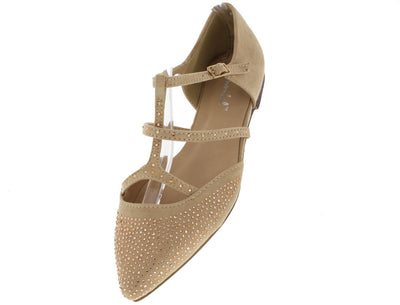 Milo1 Beige Rhinestone Pointed Toe Caged Flat - Wholesale Fashion Shoes