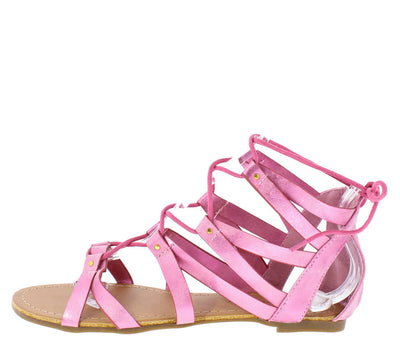 Milroy3 Pink Pu Lace Up Studded Cage Sandal - Wholesale Fashion Shoes