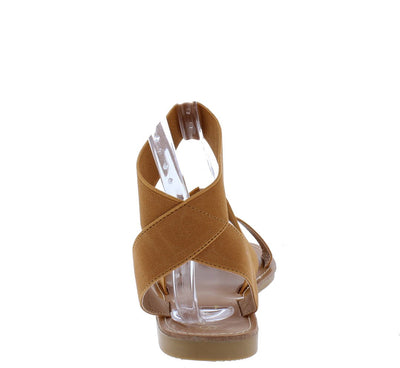 Mini2 Camel Open Toe Stretch Cross Back Strap Sandal - Wholesale Fashion Shoes