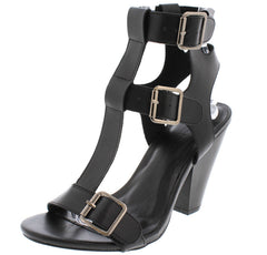 MINA04 BLACK PU TRIPLE STRAP CONE HEEL - Wholesale Fashion Shoes