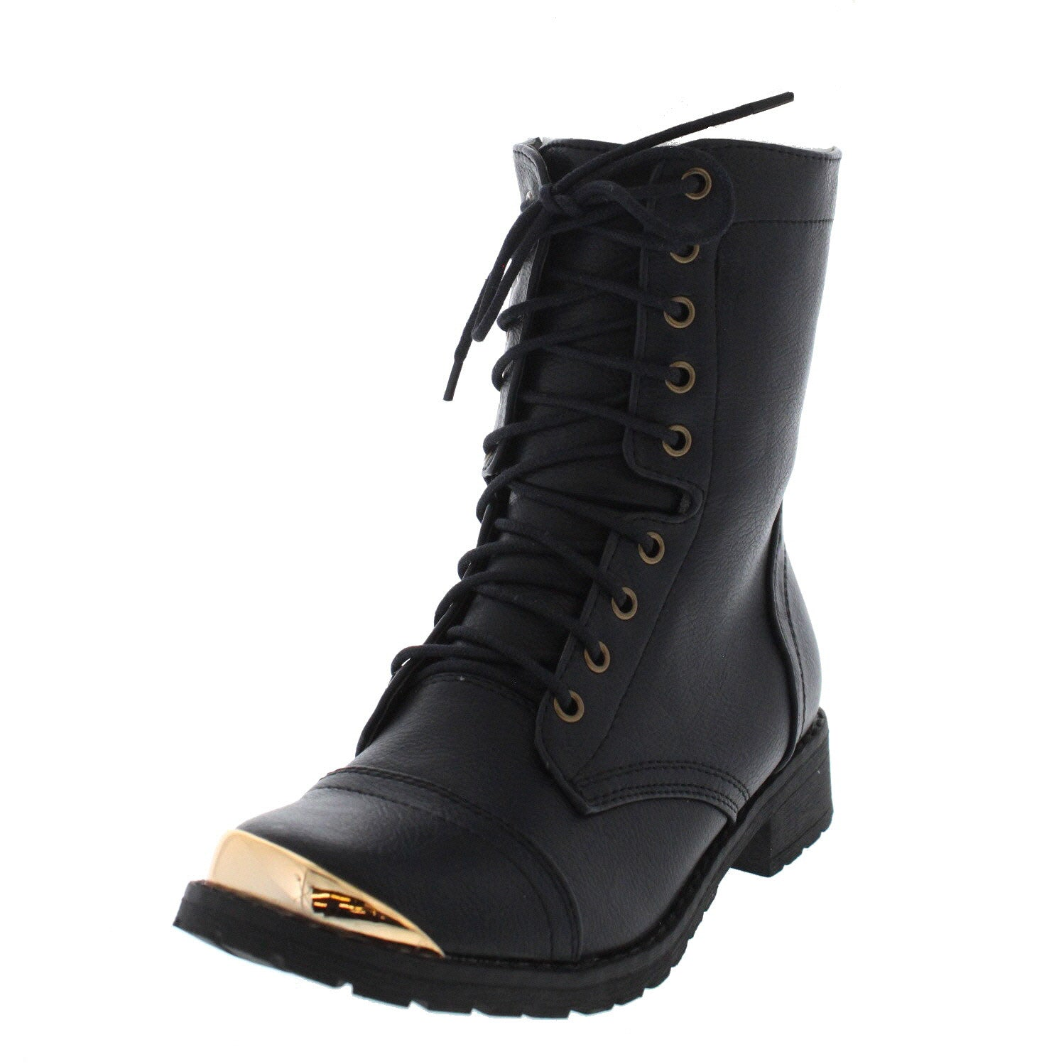 eb2b10a38c428 Minita01 Black Gold Toe Combat Boot - Wholesale Fashion Shoes