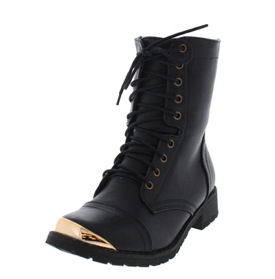 Minita01 Black Gold Toe Combat Boot - Wholesale Fashion Shoes