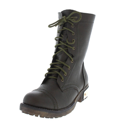Minita02 Olive Gold Heel Combat Boot - Wholesale Fashion Shoes