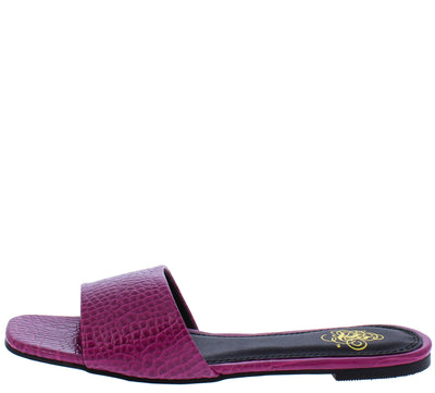 Marissa066 Magenta Square Open Toe Mule Slide Sandal - Wholesale Fashion Shoes