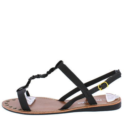 Miracle2 Black Braided Distressed T-strap Flat Sandal - Wholesale Fashion Shoes
