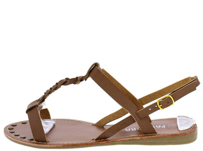 Miracle2 Brown Braided Distressed T-strap Flat Sandal - Wholesale Fashion Shoes