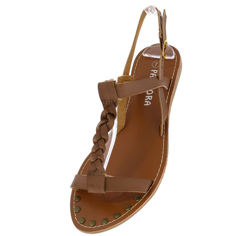 6c78228bf ... Miracle2 Brown Braided Distressed T-strap Flat Sandal - Wholesale  Fashion Shoes ...