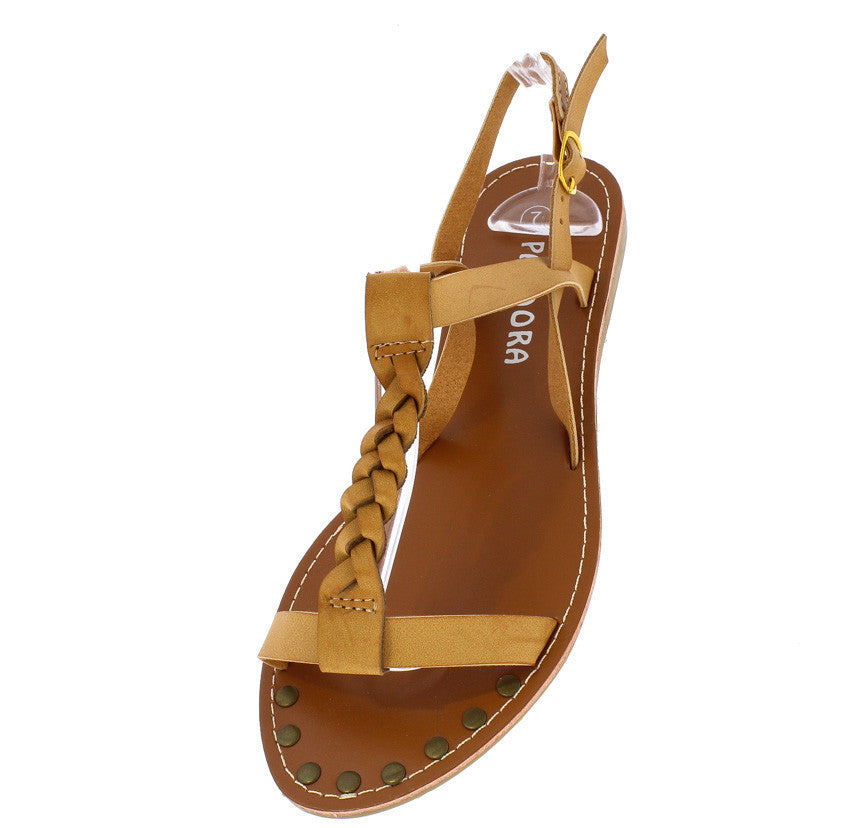 87a080fa30c Miracle2 Camel Braided Distressed T-strap Flat Sandal - Wholesale Fashion  Shoes