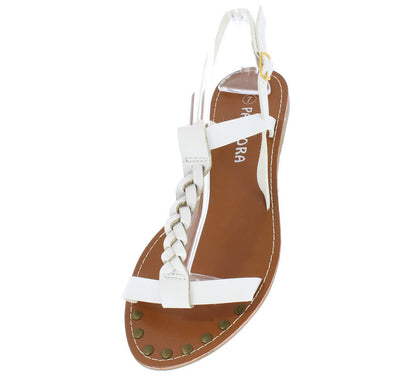 Miracle2 White Braided Distressed T-strap Flat Sandal - Wholesale Fashion Shoes