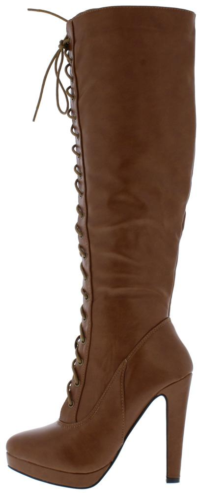11222ffb771018 Miranda3 Chestnut Lace Up Knee High Platform Boot - Wholesale Fashion Shoes