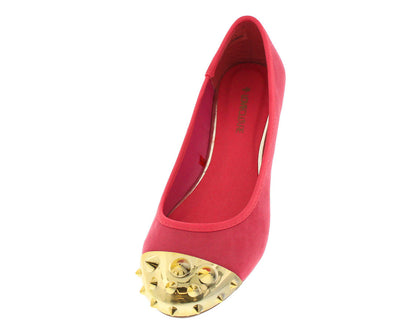 Miriana3 Coral Gold Spike Studded Toe Flat - Wholesale Fashion Shoes