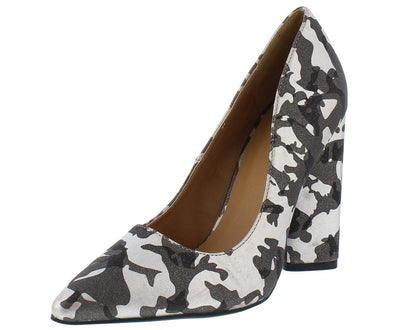 Miss01 Khaki Camoflage Pointed to Pump Chunky Heel - Wholesale Fashion Shoes