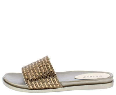 Mission63m Gold Sparkle Embellished Open Toe Mule Sandal - Wholesale Fashion Shoes