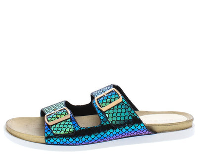 Mission72 Mermaid Open Toe Dual Buckle Strap Slide Sandal - Wholesale Fashion Shoes