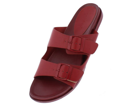 Mission72 Red Open Toe Dual Buckle Strap Slide Sandal - Wholesale Fashion Shoes