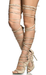 HINATA NUDE SUEDE THIGH HIGH LEG WRAP STILETTO BOOT - Wholesale Fashion Shoes