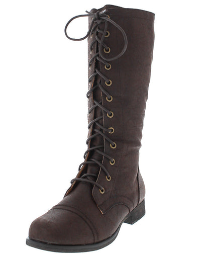 Mitch5 Brown Pu Combat Boot - Wholesale Fashion Shoes