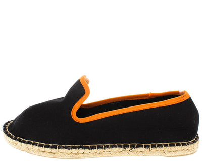 Mitty03 Black Orange Trim Slip on Espadrille Flat - Wholesale Fashion Shoes