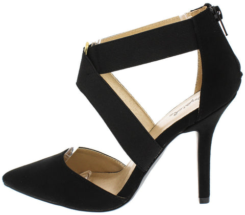 MIXI76 BLACK SU ELASTIC ANKLE POINTED TOE HEEL - Wholesale Fashion Shoes - 1