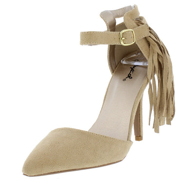 Mixi89 Taupe Fringe Pointed Toe Stiletto Heel - Wholesale Fashion Shoes