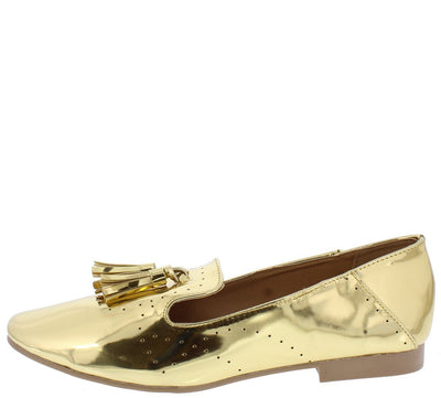 Moby10 Gold Metallic Almond Toe Tassel Loafer Flat - Wholesale Fashion Shoes