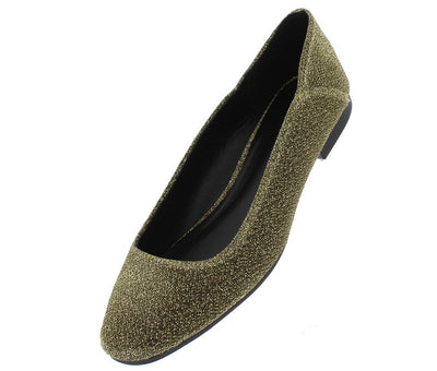 Moby22 Gold Glitter Almond Toe Ballet Flat - Wholesale Fashion Shoes