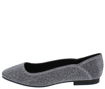 Moby22 Pewter Glitter Almond Toe Ballet Flat - Wholesale Fashion Shoes