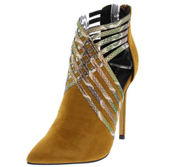 MOCK CHESTNUT SNAKE SKIN POINTED TOE CUT OUT SIDE STILETTO HEEL - Wholesale Fashion Shoes
