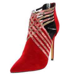 MOCK RED SNAKE SKIN POINTED TOE CUT OUT SIDE STILETTO HEEL - Wholesale Fashion Shoes