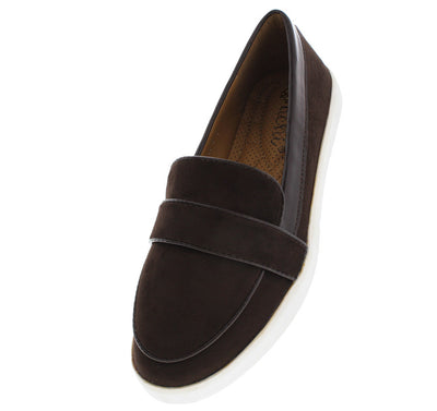 Modi1 Brown Faux Suede Loafer Flat - Wholesale Fashion Shoes