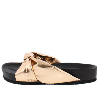 Moira35 Rose Gold Knotted Slide on Low Platform Sandal - Wholesale Fashion Shoes