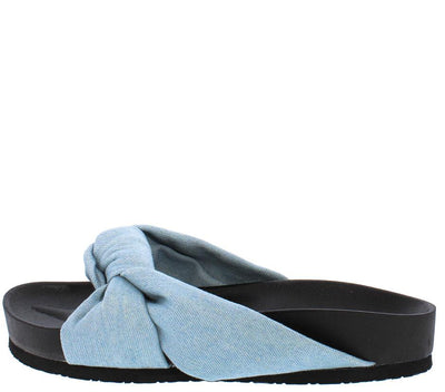 Moira35 Denim Knotted Slide on Low Platform Sandal - Wholesale Fashion Shoes