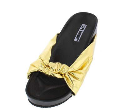 Moira35 Gold Knotted Slide on Low Platform Sandal - Wholesale Fashion Shoes