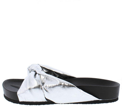 Moira35 Silver Knotted Slide on Low Platform Sandal - Wholesale Fashion Shoes