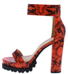 Fernanda211 Orange Snake Open Toe Platform Lug Heel - Wholesale Fashion Shoes