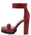 Fernanda211 Red Crocodile Open Toe Platform Lug Heel - Wholesale Fashion Shoes