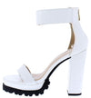 Fernanda211 White Crocodile Open Toe Platform Lug Heel - Wholesale Fashion Shoes