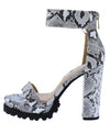 Fernanda211 White Snake Open Toe Platform Lug Heel - Wholesale Fashion Shoes