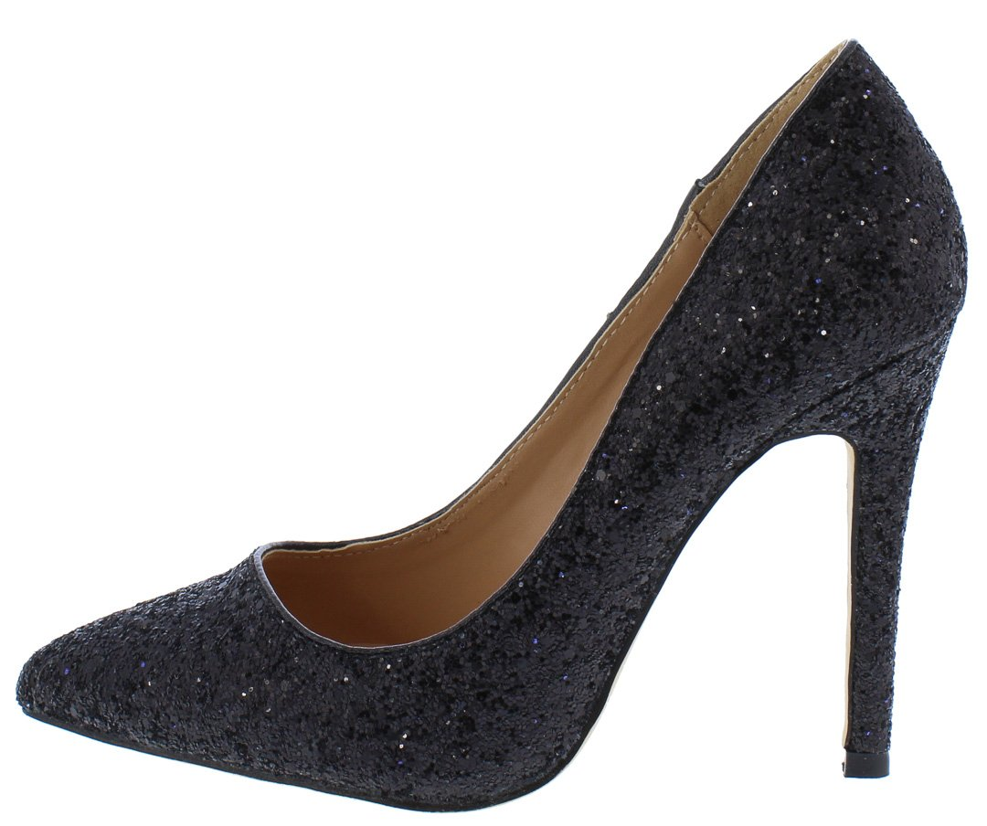 3c49c6303f5 Monica100 Black Glitter Pointed Toe Stiletto Pump Heels Only  10.88 -  Wholesale Fashion Shoes