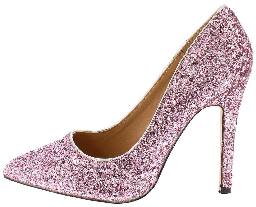 4f447c09184c Monica100 Pale Pink Glitter Pointed Toe Stiletto Pump Heel - Wholesale  Fashion Shoes
