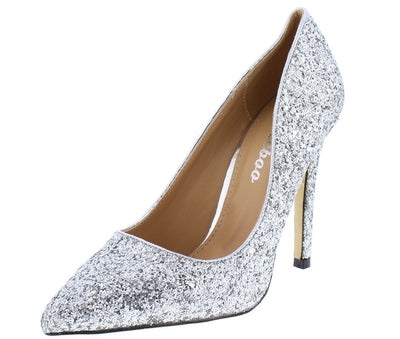 Monica100 Silver Glitter Pointed Toe Stiletto Pump Heel - Wholesale Fashion Shoes